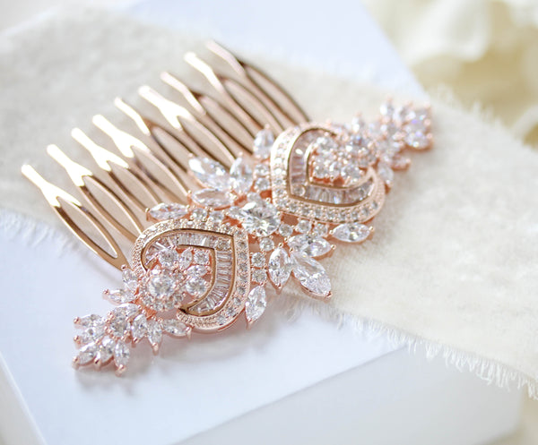 Rose gold Art Deco Bridal hair comb accessory - EMMA - Treasures by Agnes