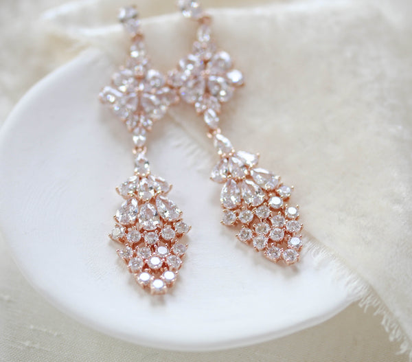 Long cubic zirconia Rose gold bridal earrings - BEA - Treasures by Agnes