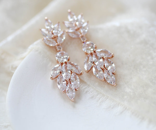 Small rose gold cubic zirconia Bridal earrings - KRISTEN - Treasures by Agnes