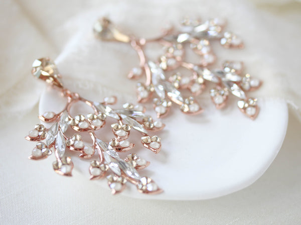 Rose gold Swarovski crystal earrings for bride - ALESSANDRA - Treasures by Agnes