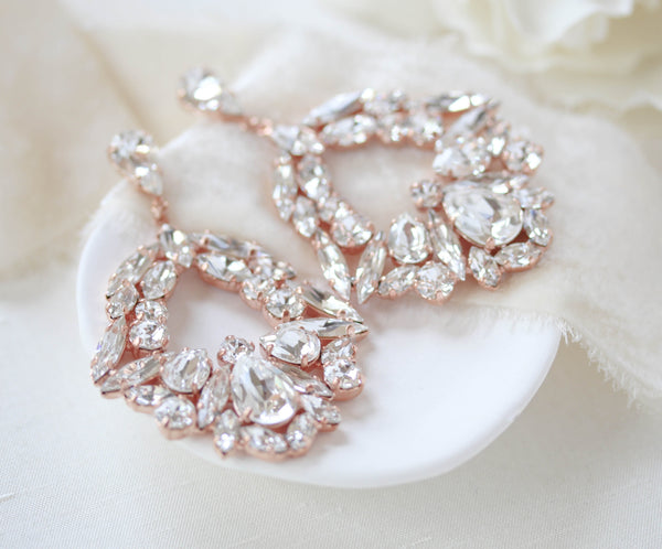 Large rose gold hoop style statement bridal earrings - VANESSA - Treasures by Agnes