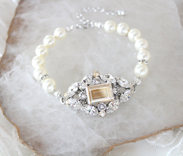 Vintage style Swarovski crystal and pearl Bridal bracelet - Treasures by Agnes