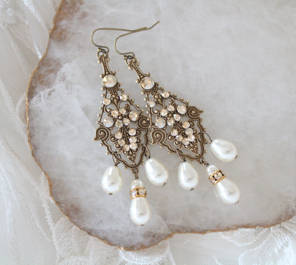 Chandelier Wedding earrings in Antique gold with Swarovski crystals - Treasures by Agnes