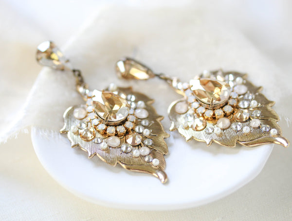 Antique Gold Leaf Style Bridal earrings with Golden Shadow Swarovski Crystals - AMBER - Treasures by Agnes