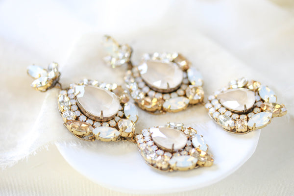 Large Swarovski crystal Statement Bridal earrings - GIANNA - Treasures by Agnes