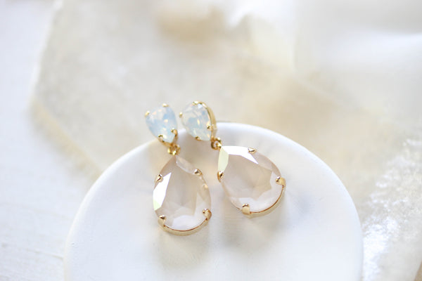 White opal Swarovski crystal tear drop bridal earrings- BETHANY