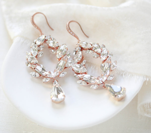 Rose gold Swarovski crystal hoop earrings - CASEY - Treasures by Agnes