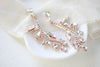 Rose gold vine style Swarovski crystal bridal earrings - ERIN - Treasures by Agnes