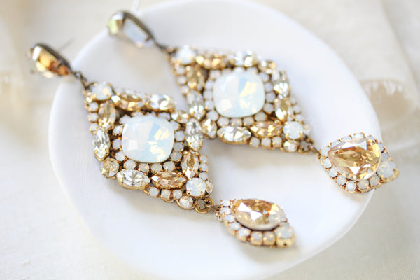 Swarovski crystal statement wedding earrings - JUSTINE - Treasures by Agnes