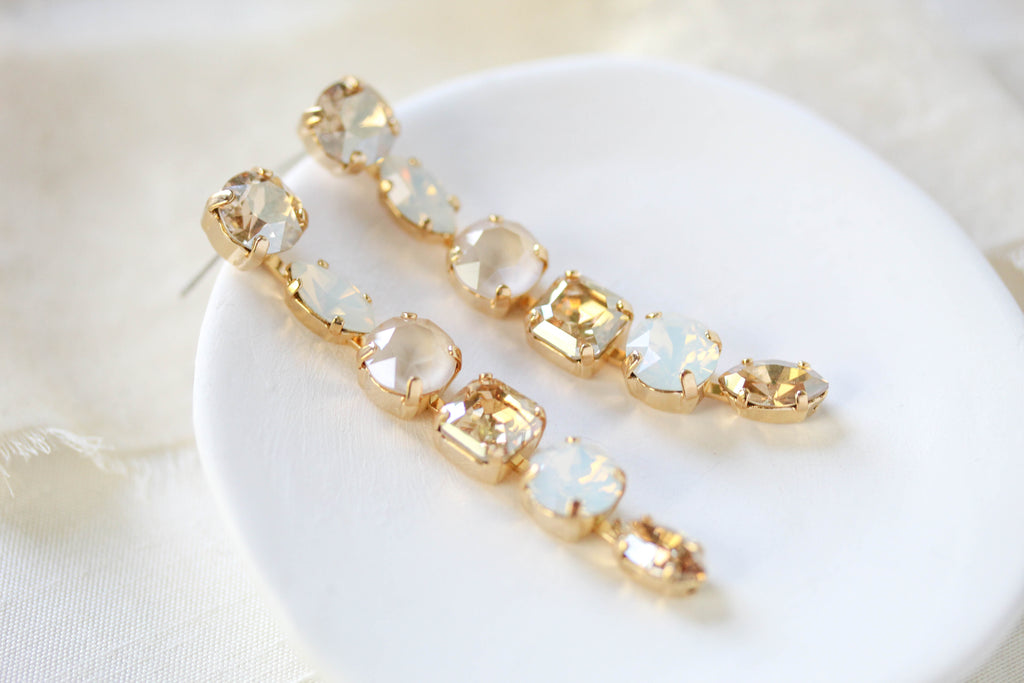 Petite dangle Swarovski crystal bridal earrings - ALICE - Treasures by Agnes
