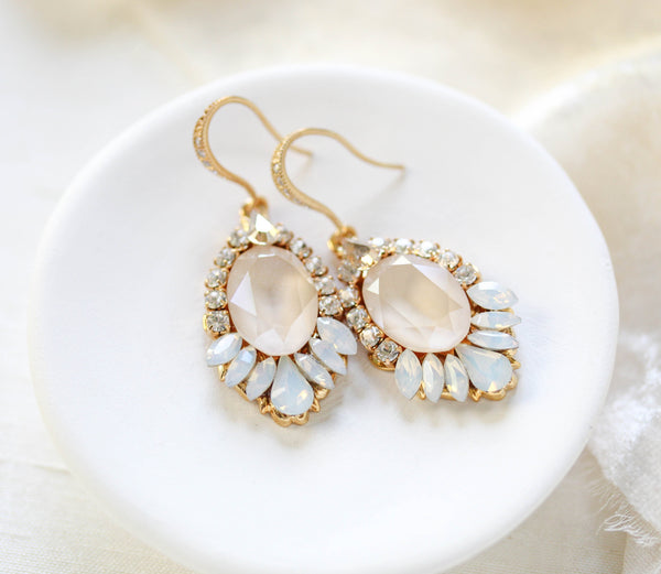 Gold Bridal earrings with Swarovski ivory cream and white opal crystals - TEAGAN - Treasures by Agnes