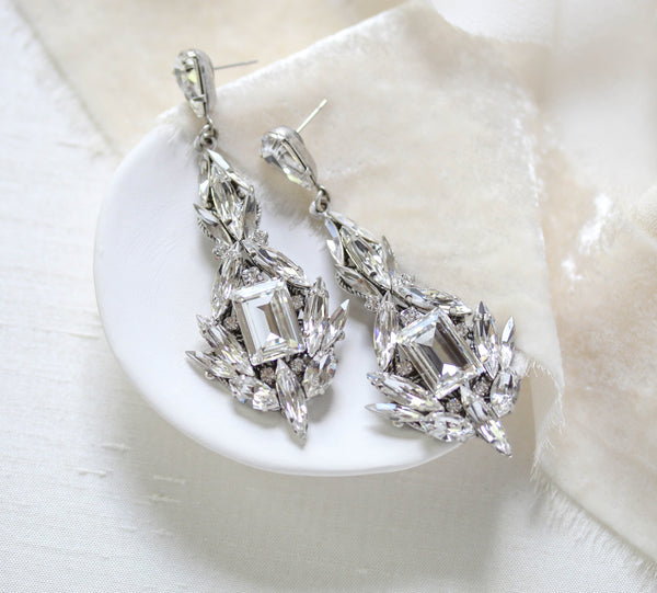 Statement Swarovski crystal Wedding earrings - ZOE - Treasures by Agnes
