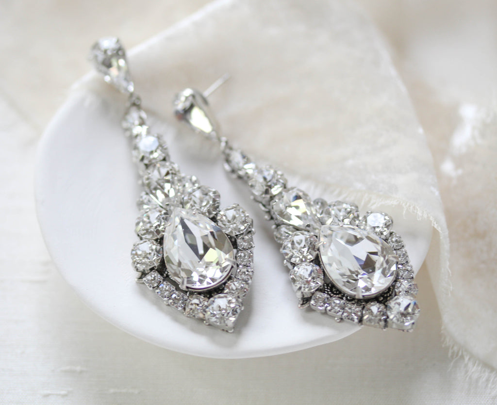 Modern vintage Swarovski crystal chandelier earrings - CLEO - Treasures by Agnes