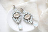 White opal vintage style Swarovski crystal bridal earrings- MONIQUE - Treasures by Agnes