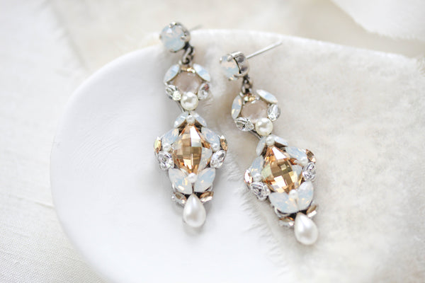 Swarovski crystal white opal Bridal earrings - ALEXIS - Treasures by Agnes