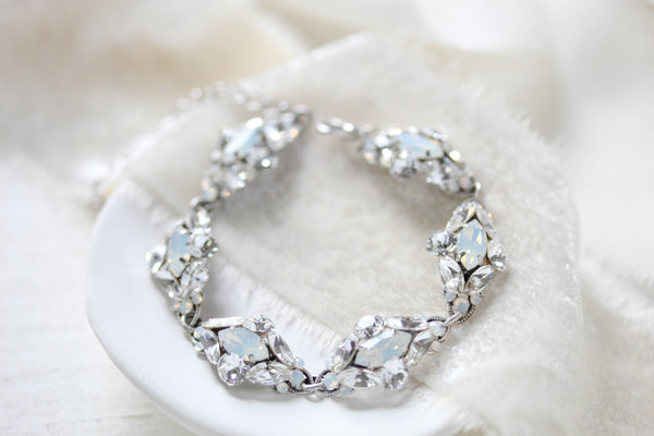 Swarovski white opal accent Bridal bracelet - HARLEY - Treasures by Agnes