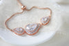 Simple Rose gold cubic zirconia bridal or bridesmaid slide bracelet - NORAH - Treasures by Agnes