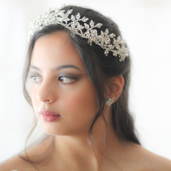 Swarovski crystal Leaf Tiara crown - CAROLINE - Treasures by Agnes