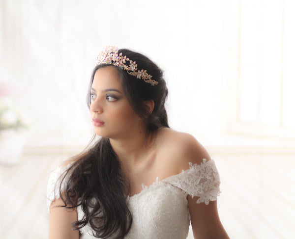 Rose gold Bridal leaf tiara crown with Swarovski crystals - ALESSANDRA - Treasures by Agnes