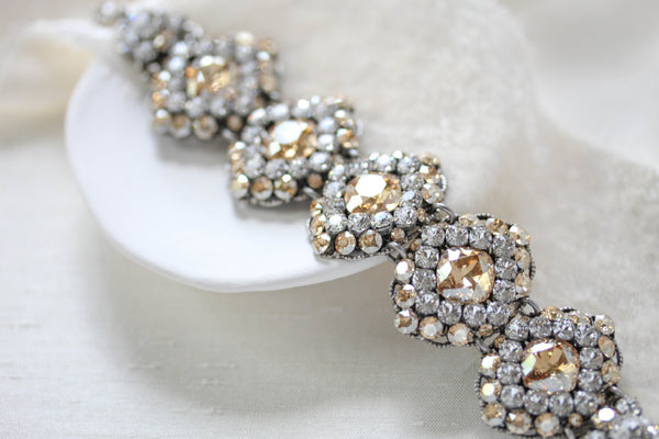 Swarovski crystal statement cuff Bridal bracelet - CHLOE - Treasures by Agnes