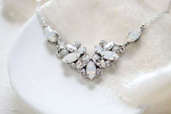 Vintage style Swarovski crystal white opal Bridal necklace - CELINE - Treasures by Agnes