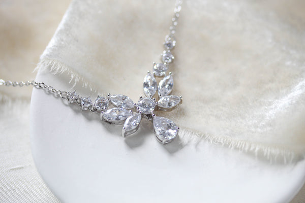 Dainty Rose Gold cubic zirconia Bridal necklace - JOSIE - Treasures by Agnes