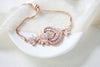 Rose gold CZ Bridal bracelet, Adjustable slide bracelet - EMMA - Treasures by Agnes