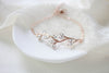 Delicate Rose gold bridal bracelet with Swarovski crystals - JOY - Treasures by Agnes