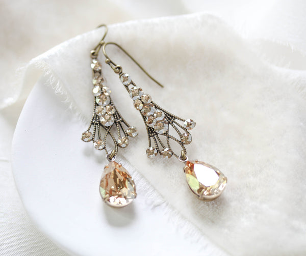 Antique gold Chandelier Bridal earrings with Swarovski Golden Shadow crystals - Treasures by Agnes