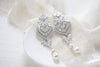 Art Deco Bridal statement earrings with pearl drops - EMMA