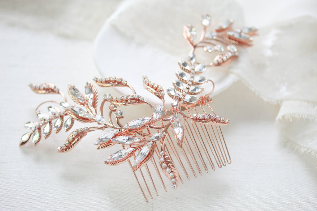 Rose gold Swarovski crystal Bridal hair comb - CATHERINE - Treasures by Agnes