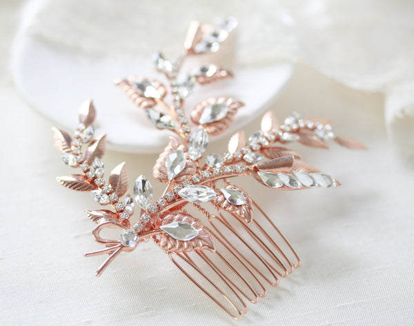 Rose gold floral hair comb with Swarovski crystals - SHARON - Treasures by Agnes