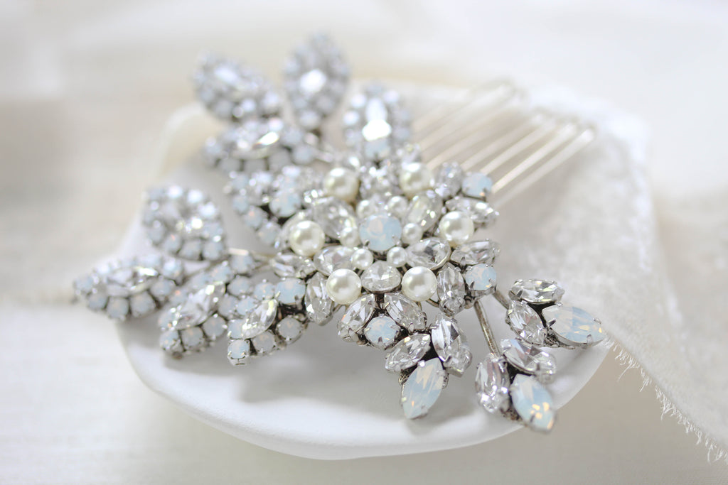 Swarovski crystal and white opal bridal hair comb - PATRICIA - Treasures by Agnes