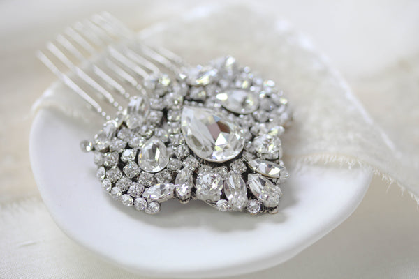 Swarovski crystal vintage style Bridal hair comb - TATIANA - Treasures by Agnes