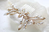 Antique gold Swarovski Crystal Bridal hair comb accessory - AUDREY - Treasures by Agnes