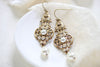 Antique gold pearl drop Swarovski crystal golden shadow bridal earrings - Treasures by Agnes