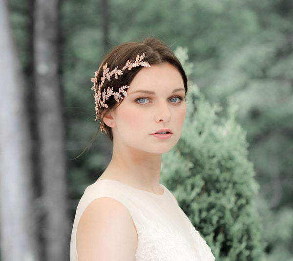 Rose gold cubic zirconia leaf hair vine wedding headpiece - MARTINA - Treasures by Agnes