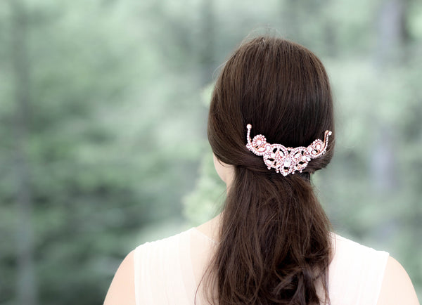 Rose gold Swarovski crystal Bridal back comb - CARLY - Treasures by Agnes