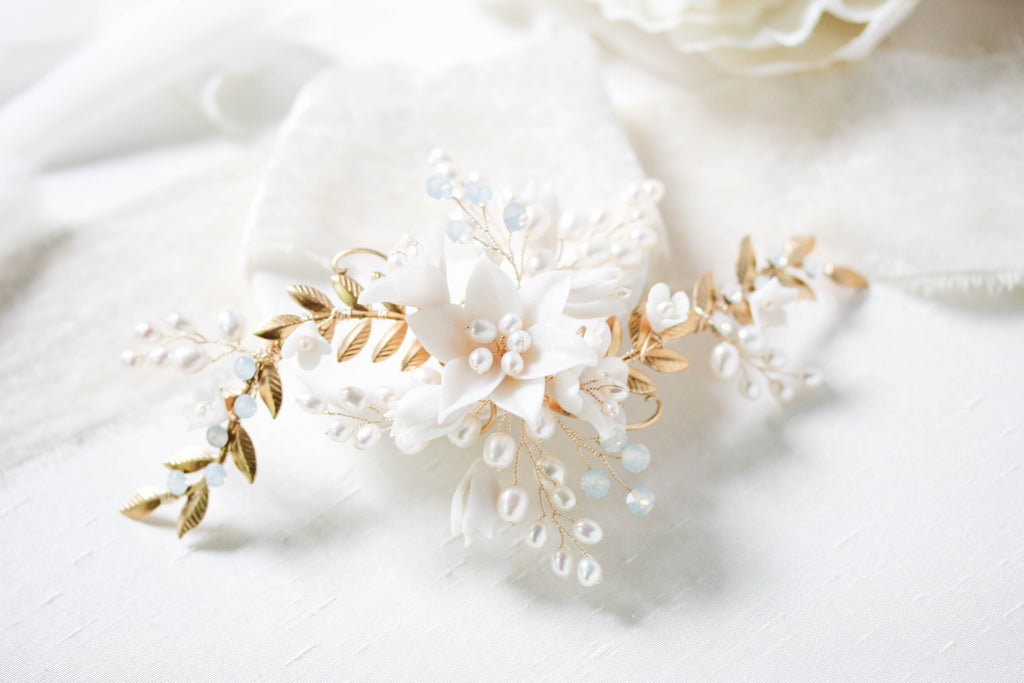 Floral freshwater pearl bridal hair accessory- ROBYN - Treasures by Agnes