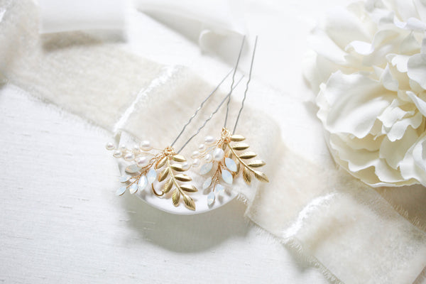 Brass leaf and Swarovski white opal hair pin - IVY - Treasures by Agnes