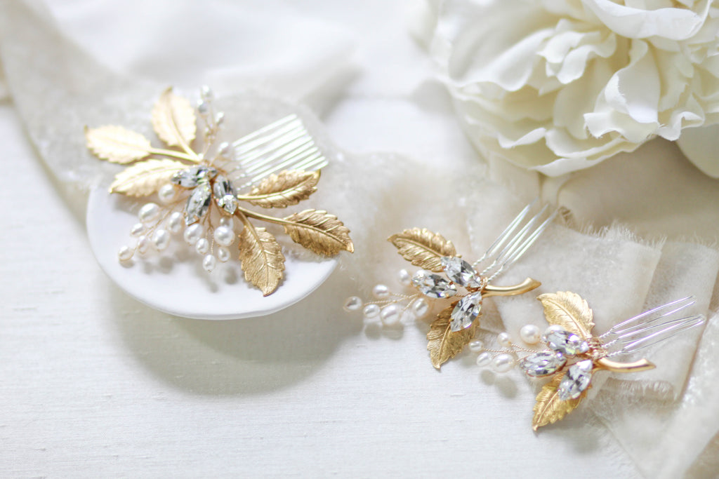 Three piece Swarovski crystal hair comb set -DAWN - Treasures by Agnes
