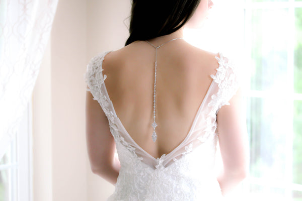 Cubic zirconia bridal back necklace - BEA - Treasures by Agnes