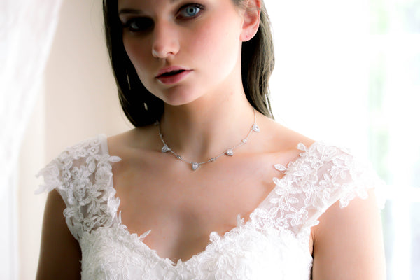 Delicate cubic zirconia bridal choker style necklace - NORAH - Treasures by Agnes