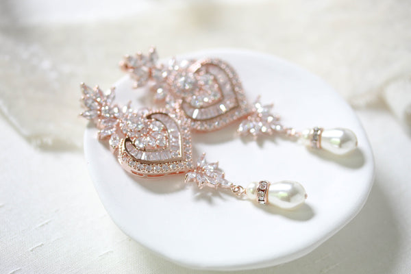 Long rose gold Crystal and pearl chandelier wedding earrings - EMMA - Treasures by Agnes