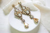 Antique gold Swarovski crystal earrings Chandelier Bridal earrings Vintage style - ASHLYN - Treasures by Agnes