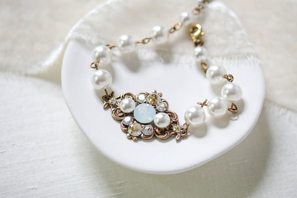 Vintage style Antique Gold Swarovski crystal bridal bracelet - ASHLYN - Treasures by Agnes