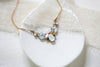 Antique gold Swarovski white opal accent Bridal necklace - CHARLOTTE - Treasures by Agnes