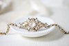 Antique gold Swarovski crystal Bridal cuff bracelet - ANNA - Treasures by Agnes