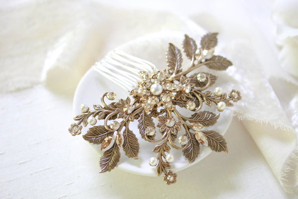 Antique gold leaf hair accessory with Swarovski crystals - Treasures by Agnes