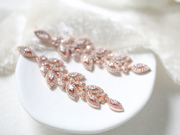 Long Rose gold Cubic zirconia Leaf Bridal earrings - MICHELLE - Treasures by Agnes